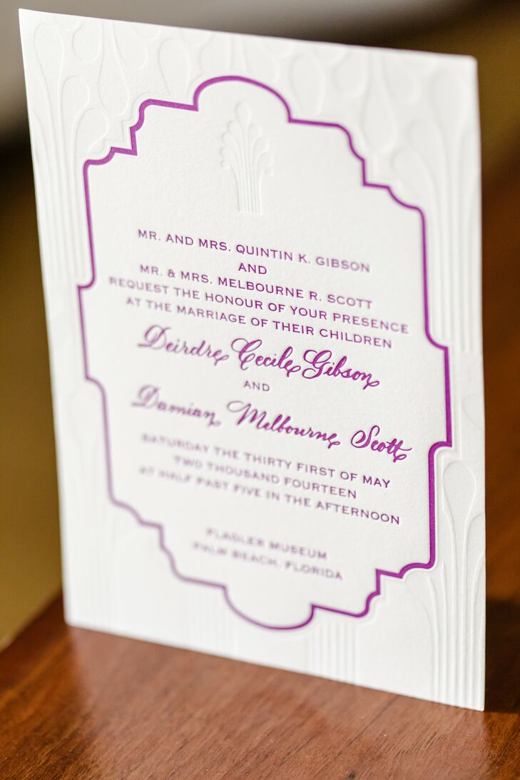 Each of Deirdre & Damian's 180 friends and family members received a simple purple and white invitation crafted by Embrace Calligraphy.