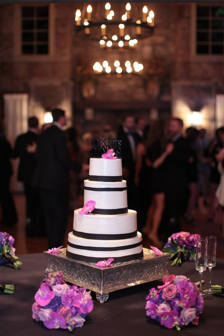 A black and white color palette set a formal tone, while fuchsia accents added a pop of color.