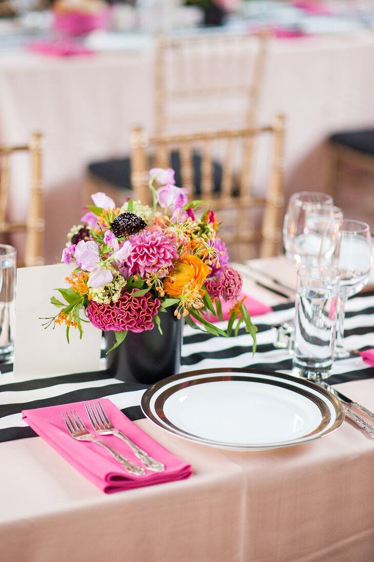 Modern pink and orange centerpieces