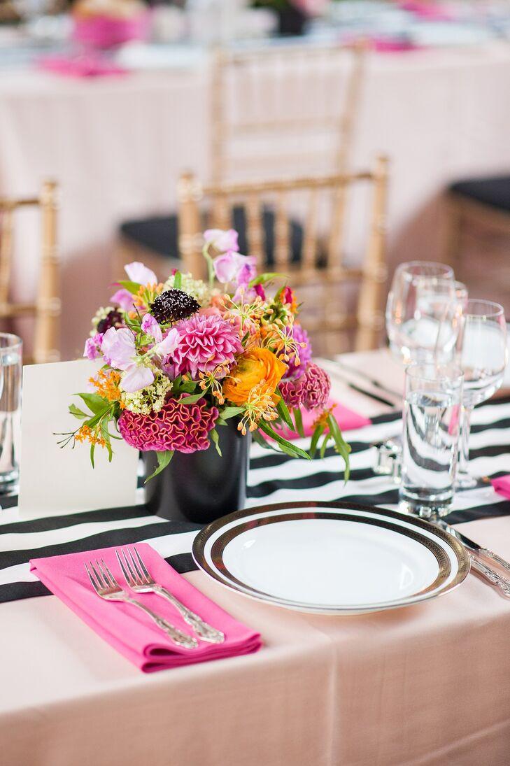 Modern Pink Centerpieces : Modern pink and orange centerpieces