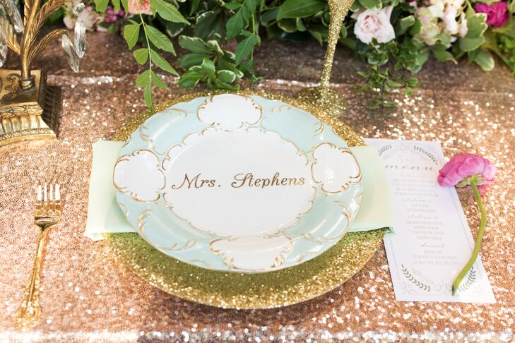 Glam Sequin Linens and Mint Dinnerware