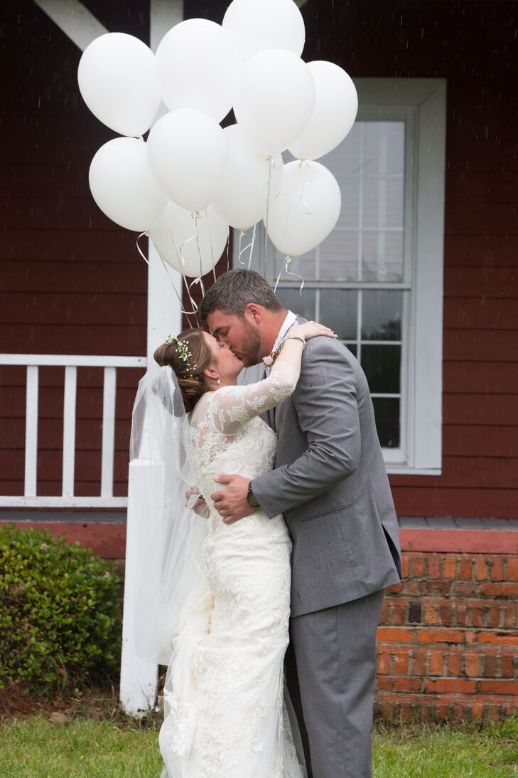 Lace Three-Quarter-Sleeve Wedding Dress
