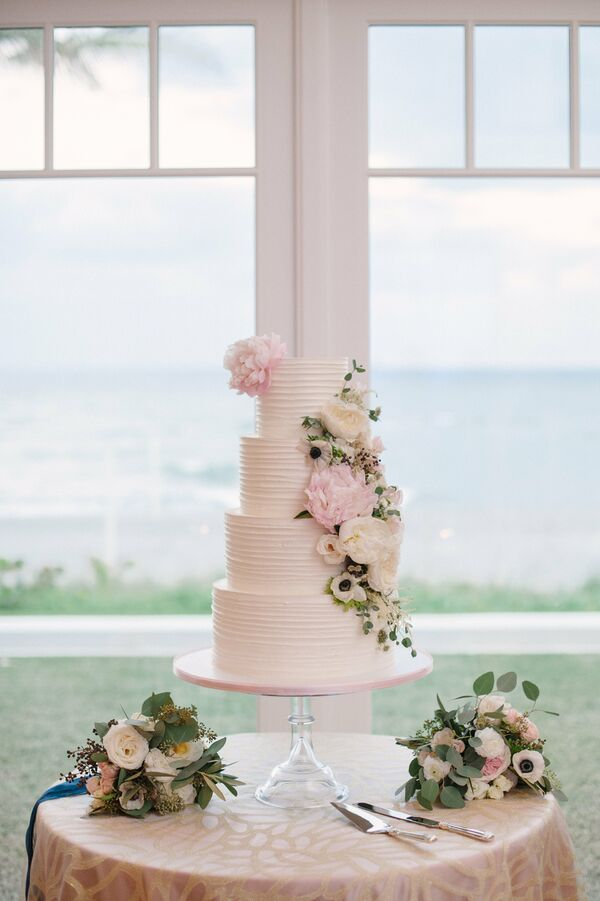 Classic Tiered Wedding Cake with White Buttercream, Anemones and Peonies