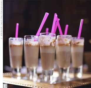 mini milkshakes with pink straw