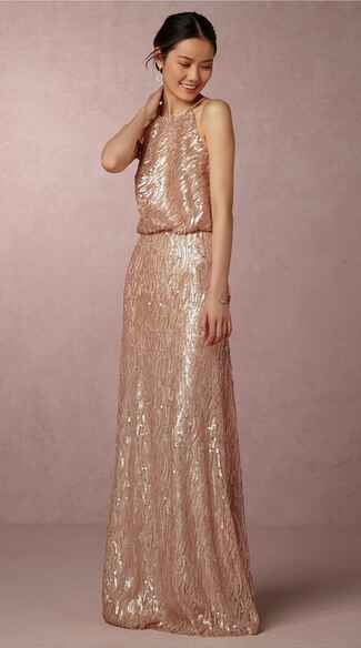 gold bridesmaid dress by BHLDN