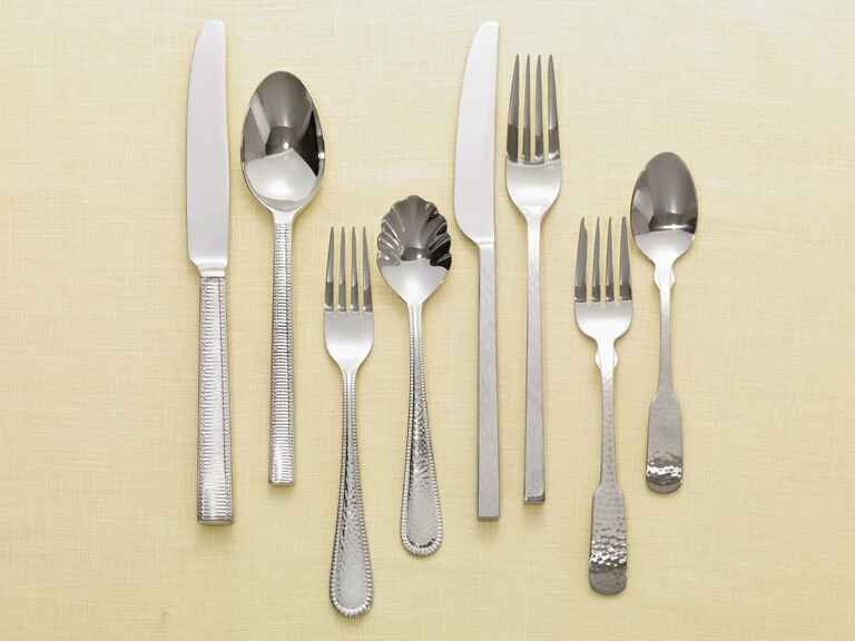 Stainless steel flatware for wedding registry