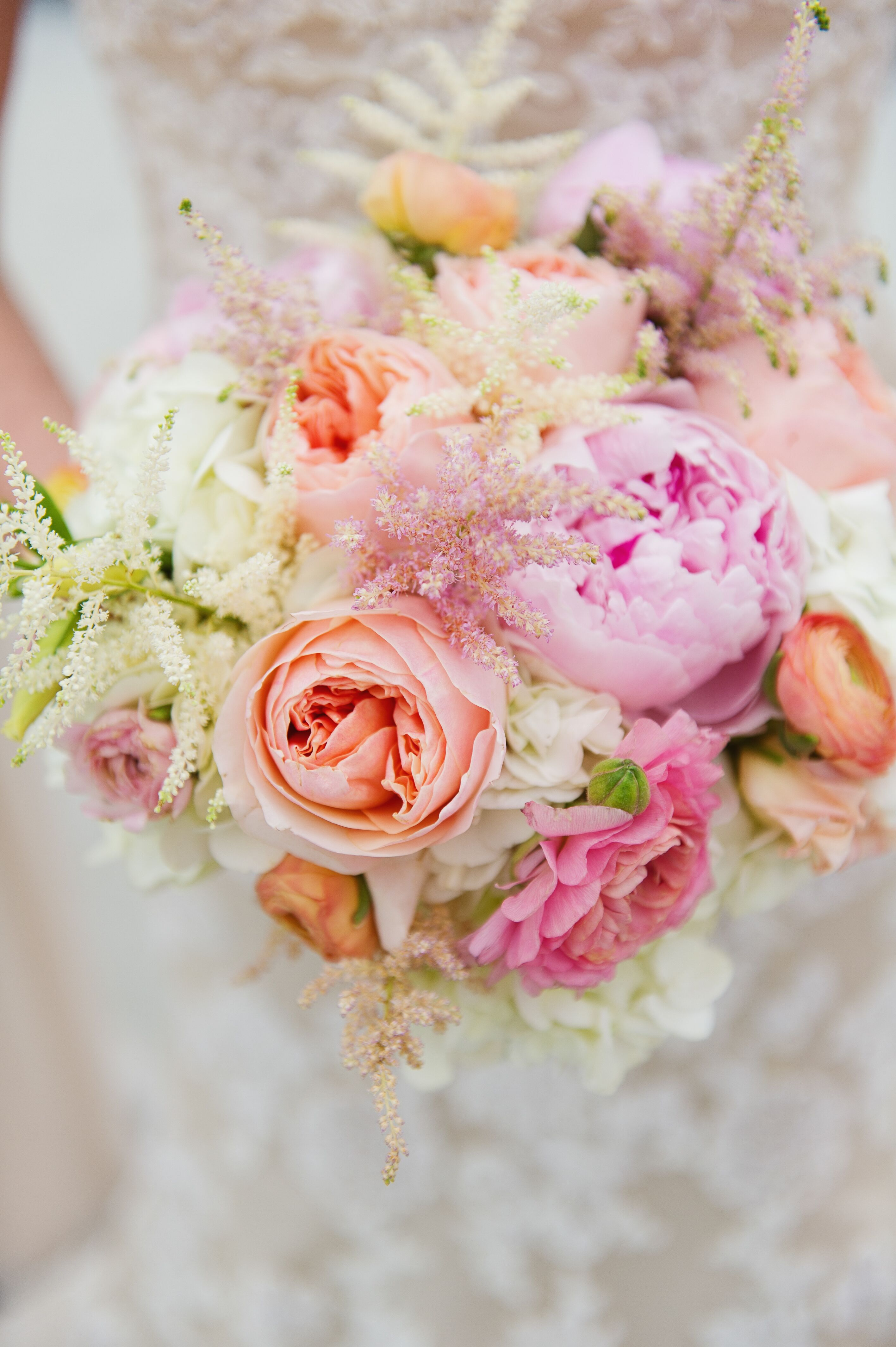 Romantic Peach Pink And White Bridal Bouquet