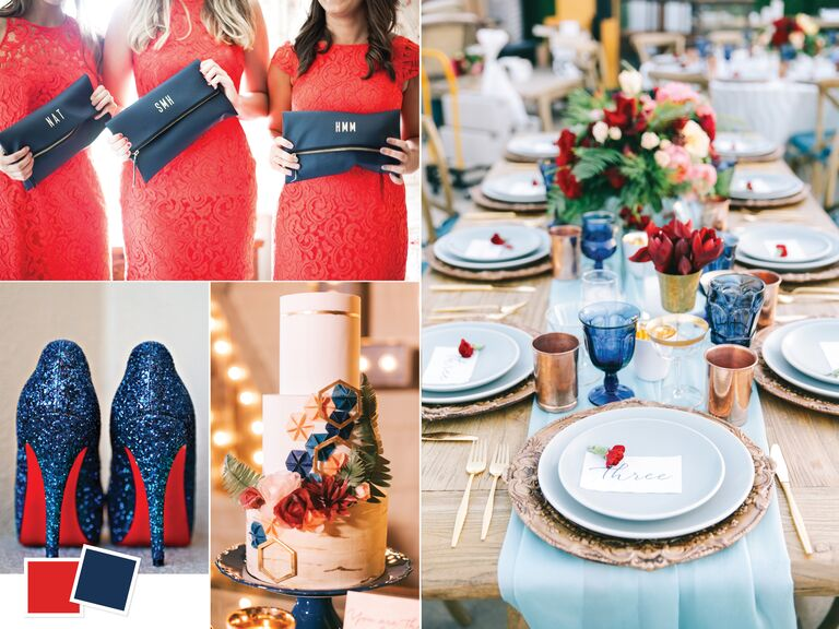 Scarlet and navy summer wedding color combo