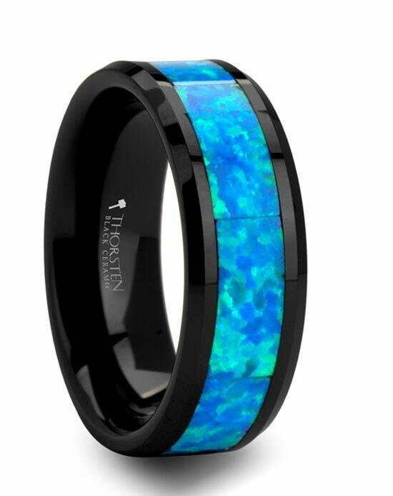 Larson Jewelers QUANTUM Black Ceramic Ring with Blue Green Opal Inlay - 6 mm - 10 mm Wedding Ring photo