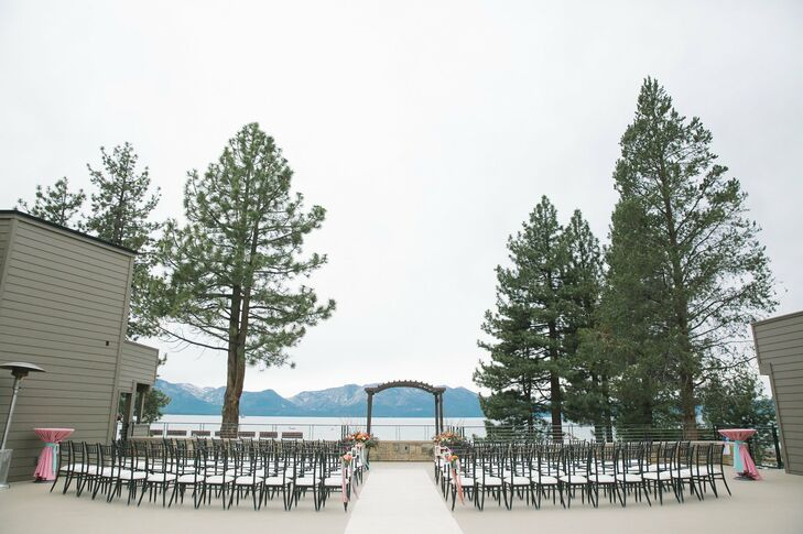 The ceremony took place outdoors overlooking Lake Tahoe and the surrounding expanse of mountains.