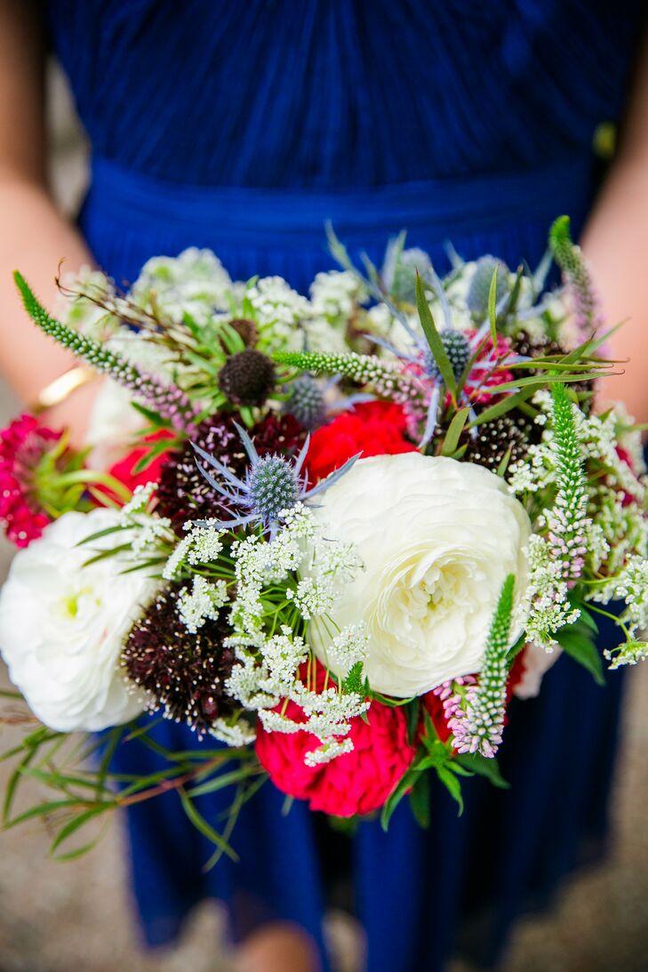 Textured red white blue bridesmaid wedding bouquet mightylinksfo