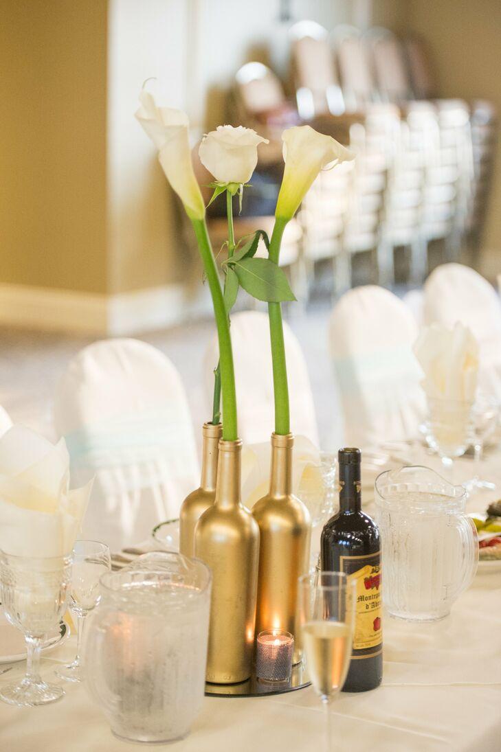 diy calla lily centerpiece in gold bottles. Black Bedroom Furniture Sets. Home Design Ideas