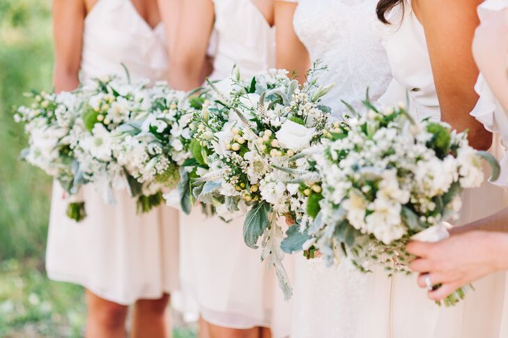 Bridesmaid Bouquets with Veronica and Scabiosa