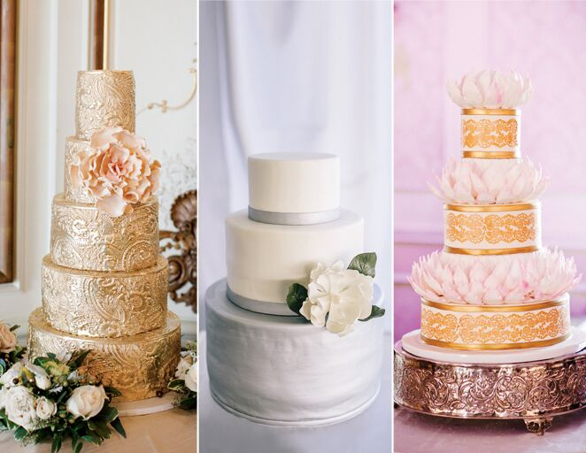 Metallic silver and gold wedding cakes