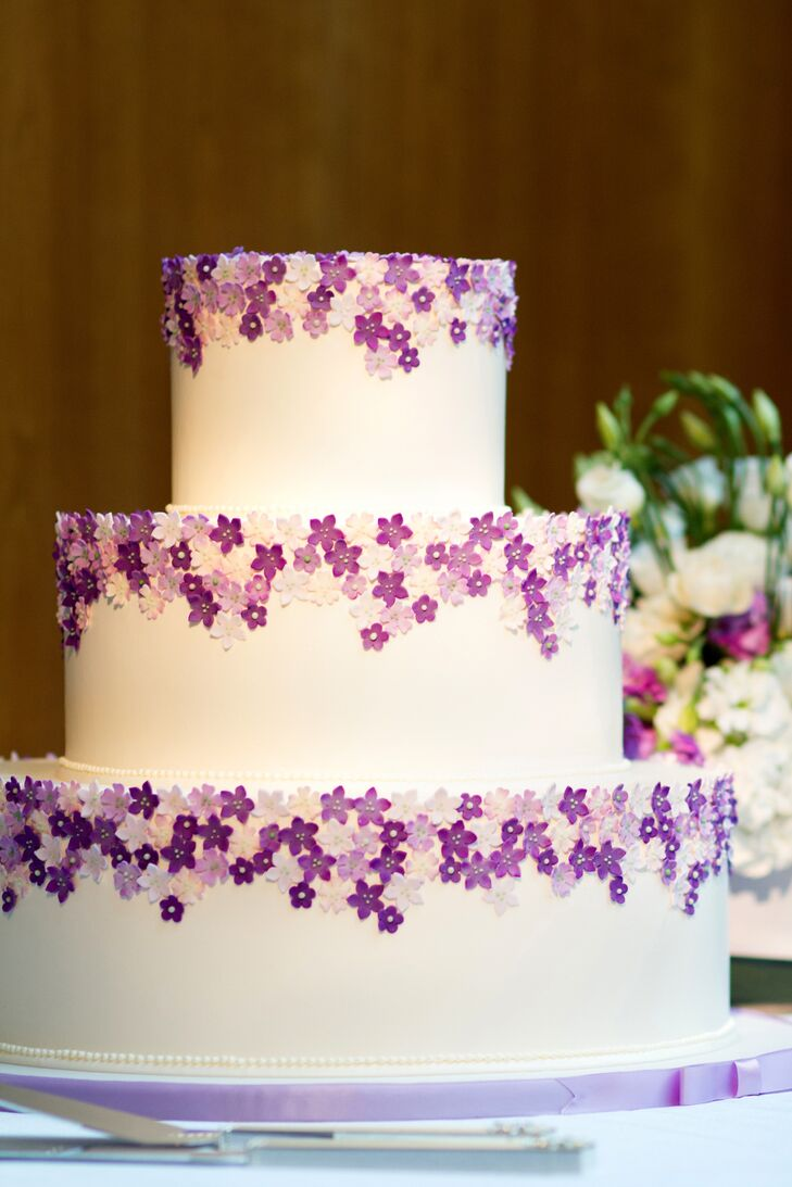 Purple And White Sugar Flower Cake