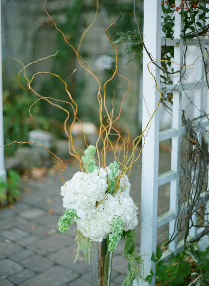 White Hydrangeas with Willow Branches