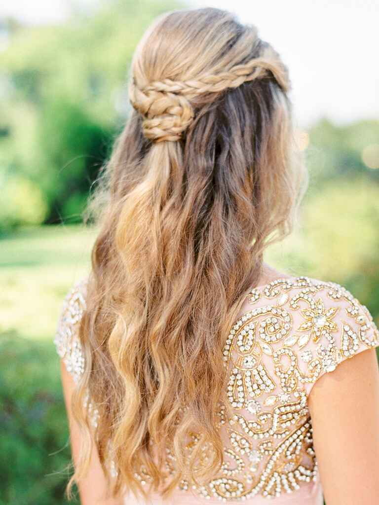 Wedding hairstyle half up half down with braids