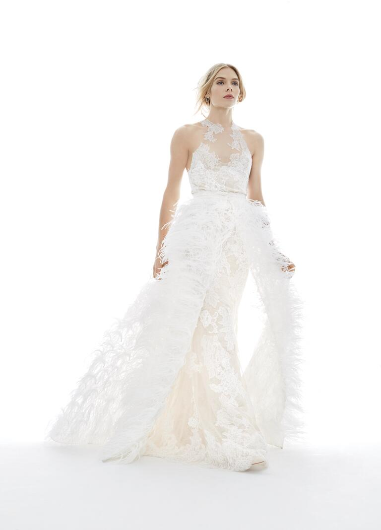 Monique Lhuillier wedding dress with a feather overlay