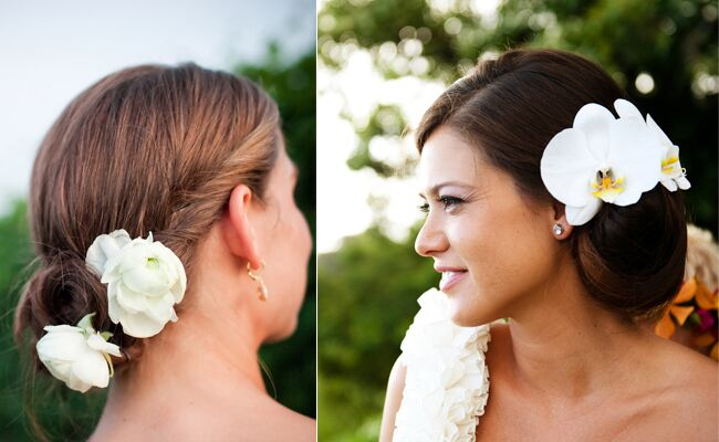 Updos with Flowers from The Knot