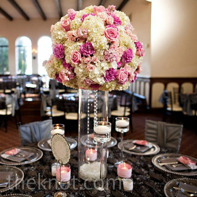 White hydrangea and crystal centerpiece