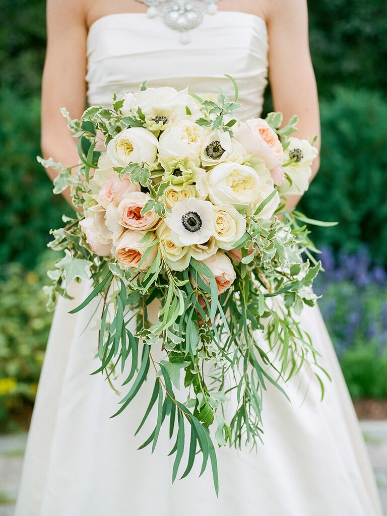 Cascading Wedding Bouquet Idea With Ivory And Roses