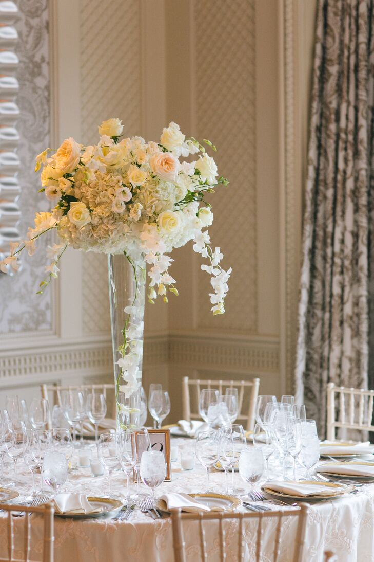 Elegant Tall Rose And Orchid Centerpieces