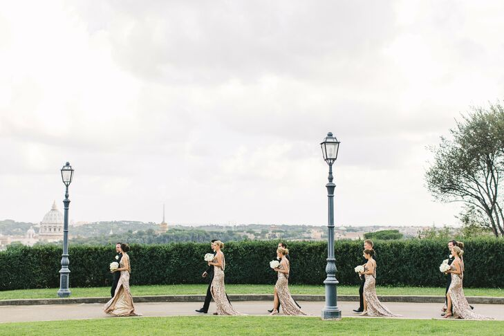 "To complement the wedding's white and gold palette and glamorous theme, Silje had her three maids of honor and three bridesmaids don floor-length sequin gowns in a luxe gold hue. ""I loved the open back on the dresses, and in the front, we made some adjustments to make the dresses unique for our wedding,"" Silje says. ""I wanted the girls to feel pretty and fabulous on the wedding day, like they deserve."""