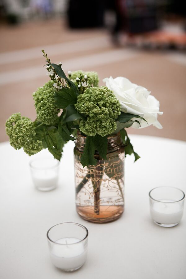 Rustic Wedding Mason Jar Reception Decor