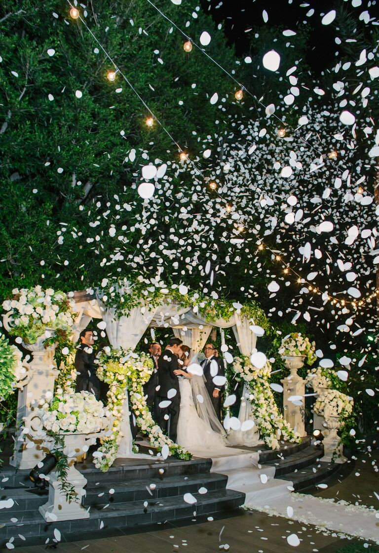 Mindy Weiss's rose petal cannon ceremony recessional