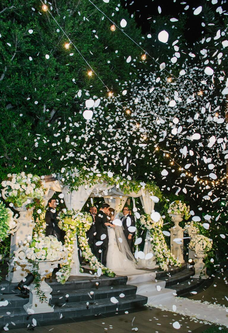 Mindy Weiss's rose petal cannon wedding ceremony recessional