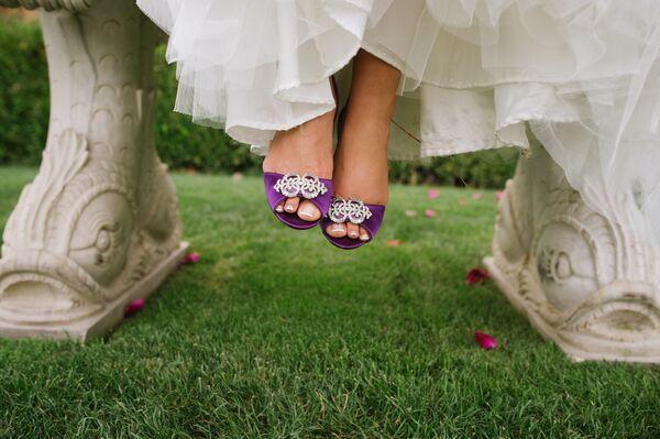 Purple Suede Coach Bridal Heels