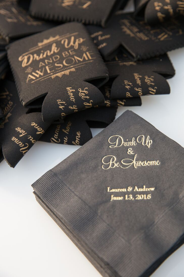 Black and Gold Cocktail Napkins