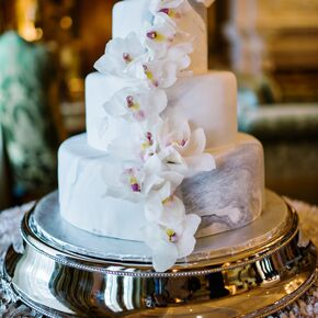 Gray Marbled Wedding Cake With Cascading Orchids