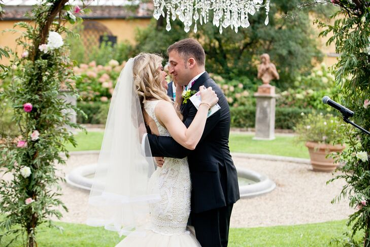 First Kiss at Four Seasons Garden Ceremony