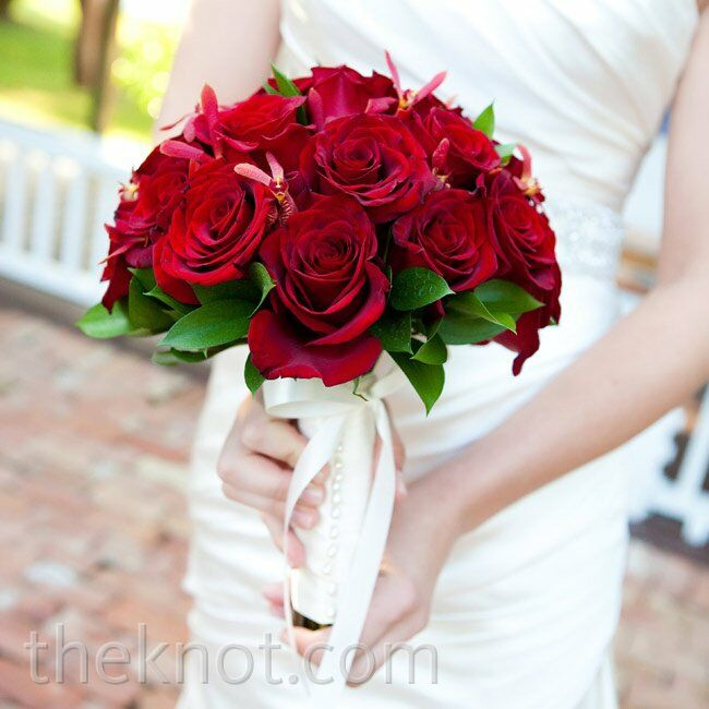 Red Rose Wedding Bouqet.Red Rose Bridal Bouquet