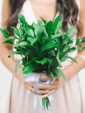 A bridesmaid bouquet with fresh foliage