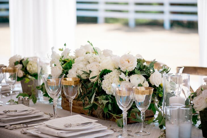 Ivory Flower and Greenery Centerpiece