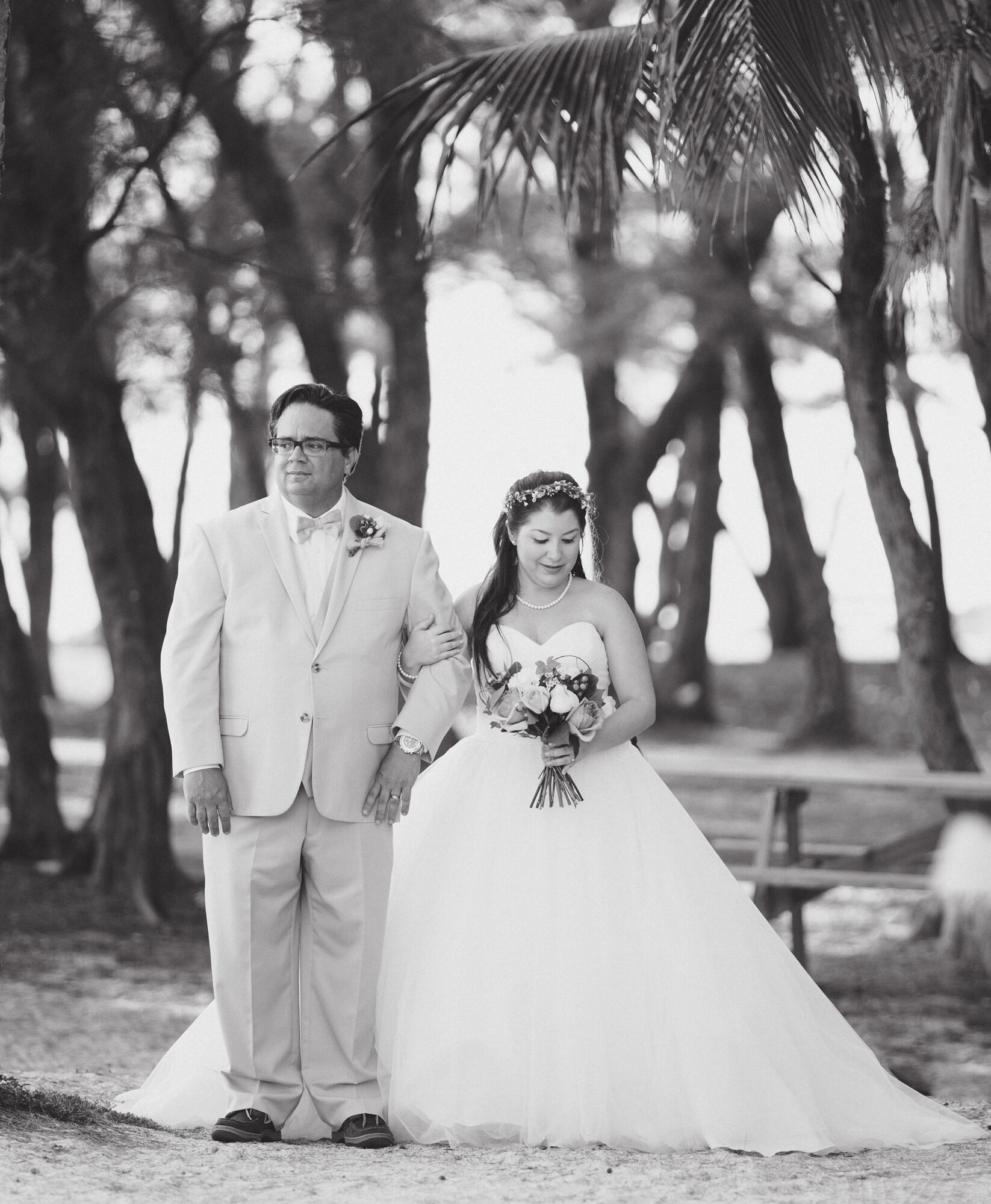 Key West Wedding Ideas: Father Escorts Bride For Processional On The Beaches Of