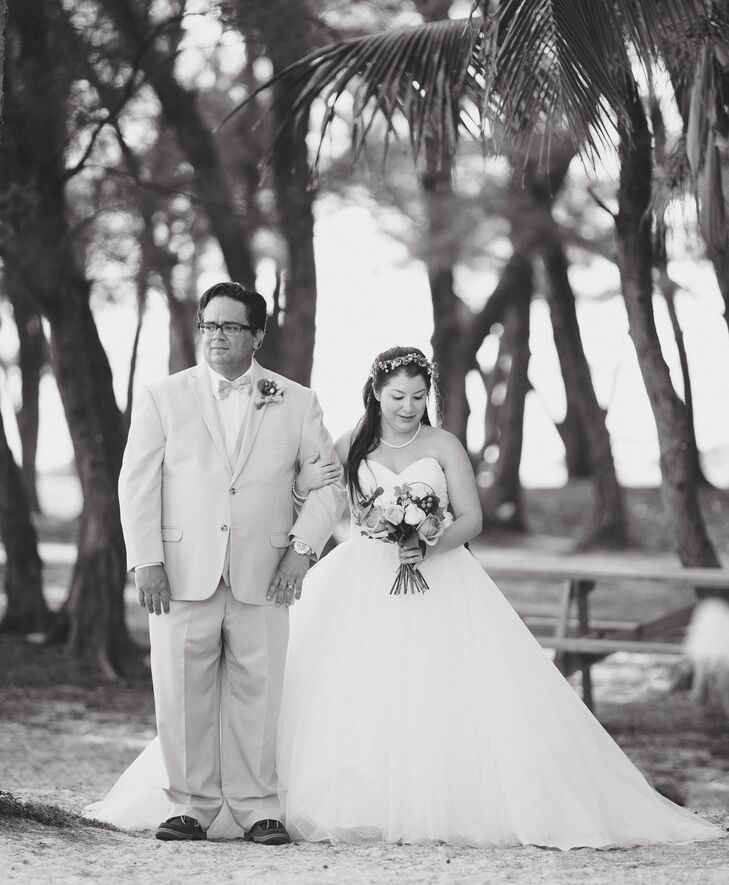 Beach Wedding Ceremony Processional: Father Escorts Bride For Processional On The Beaches Of
