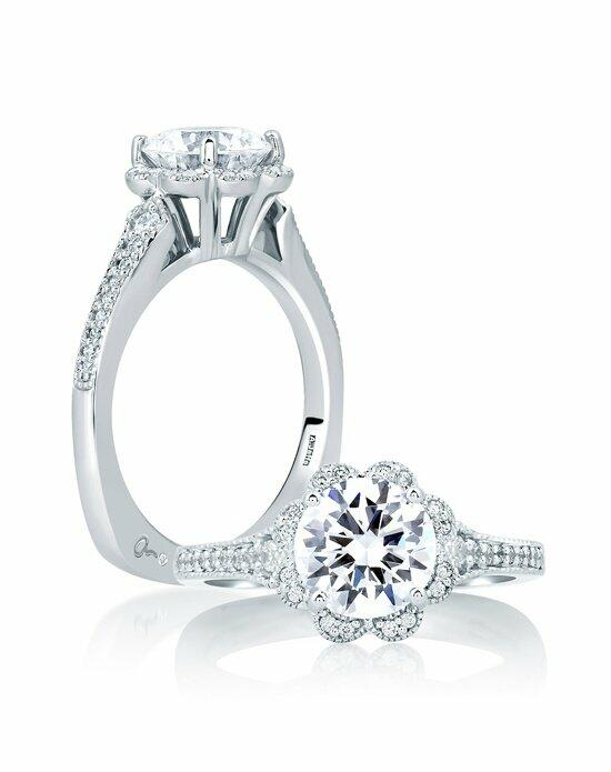 A.JAFFE Deco Floral Halo Engagement Ring, MES645 Engagement Ring photo