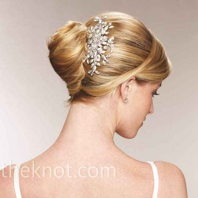 french twist wedding hairstyle with sparkly headpiece