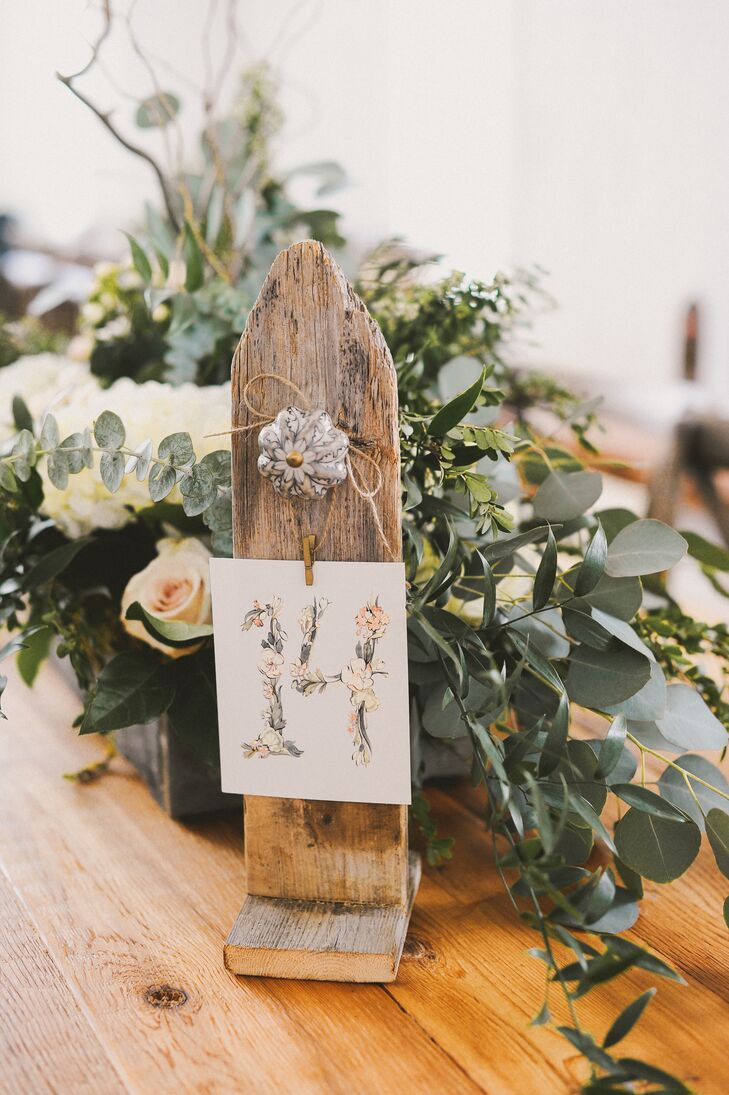 Floral Table Numbers on Rustic Wooden Holders