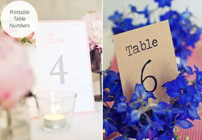 DIY printable table numbers: One Fab Day / TheKnot.com