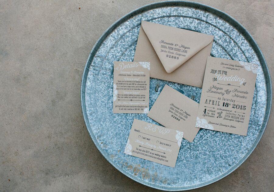Diy Paper Wedding Invitation: DIY Kraft-Paper Wedding Invitations