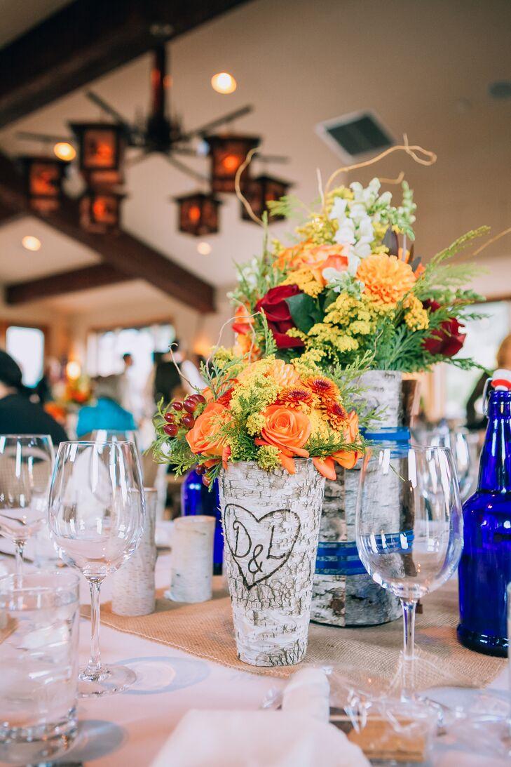 Carved Aspen Tree Wedding Reception Centerpieces