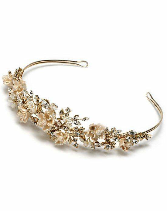 USABride Champagne Flower Gold Bridal Tiara TI-394-G Wedding Accessory photo