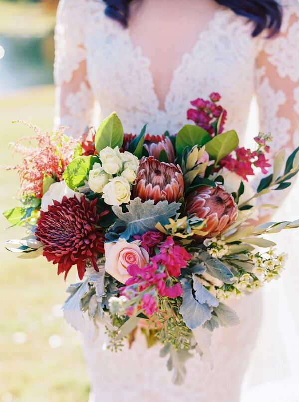Yellow wedding bouquets exotic pink and green bridal bouquet of snapdragons lambs ear and proteas mightylinksfo