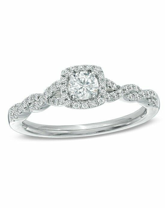 Celebration Diamond Collection at Zales Celebration Fire® 1/2 CT. T.W. Diamond Frame Twist Engagement Ring in 14K White Gold (H-I/SI1-SI2)  19952419 Engagement Ring photo