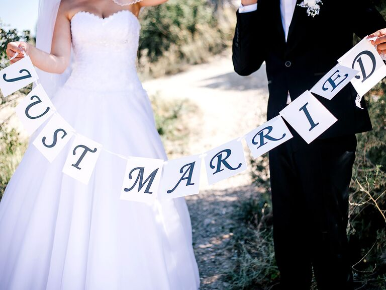 Just married couple with hyphenated last names