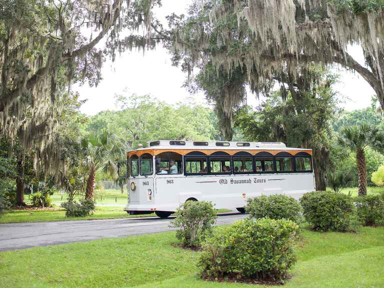 Trolley transportation for wedding party